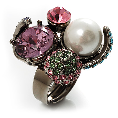 Luxurious Crystal Cluster Cocktail Ring (Multicoloured) - main view