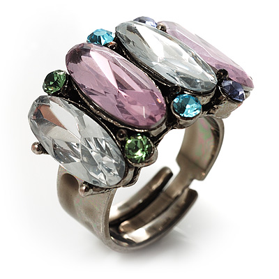 Multicoloured Oval-Cut Crystal Cocktail Ring