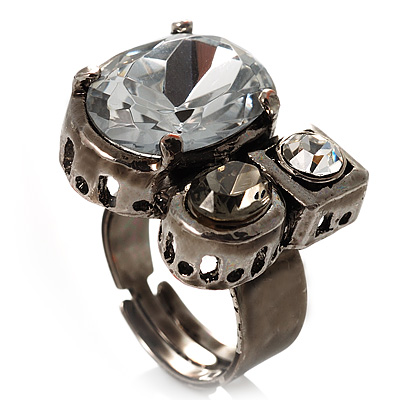 Bold Crystal Cluster Cocktail Ring (Clear & Dim Grey)