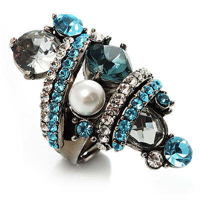 Giant Vintage Crystal Cocktail Ring (Clear & Sky Blue) - main view