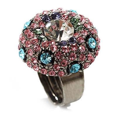 Multicoloured Crystal Dome Shaped Cocktail Ring