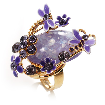 Exquisite Flower And Butterfly Cocktail Ring (Gold And Purple) - main view