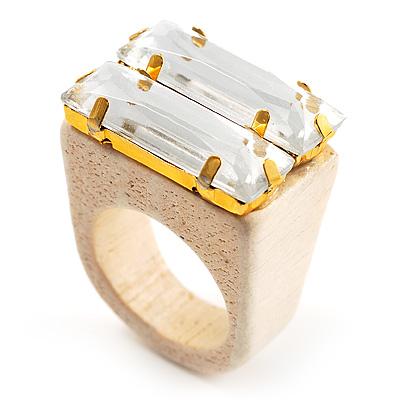 Clear Acrylic Wood Boho Ring (Cream)