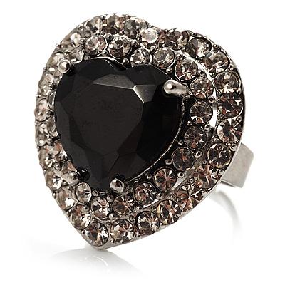Jet-Black CZ Heart Cocktail Ring (Silver Tone)