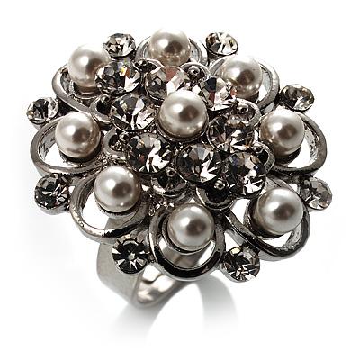 Bridal Imitation Pearl Crystal Floral Ring (Silver Tone) - main view