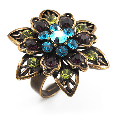 Bronze-Tone Crystal Flower Cocktail Ring (Multicoloured)