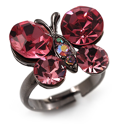 Small Pink Crystal Butterfly Ring (Black Tone)