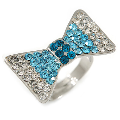 Exquisite Crystal Bow Ring (Silver Tone)