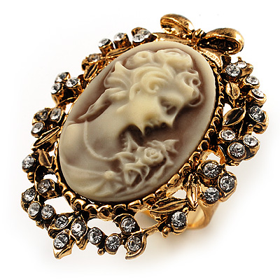 Vintage Filigree Cameo CZ Ring (Burnised Gold Tone)