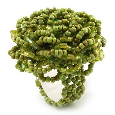 Light Green Glass Bead Flower Stretch Ring