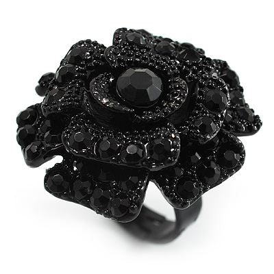 Sultry Crystal Rose Cocktail Ring (Black Tone) - main view