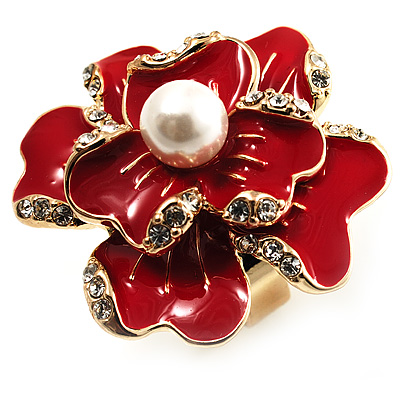 Stunning Red Enamel Crystal Flower Cocktail Ring (Gold Tone)