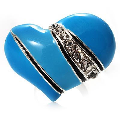 Light Blue Enamel Diamante Asymmetrical Heart Ring (Silver Tone) - main view