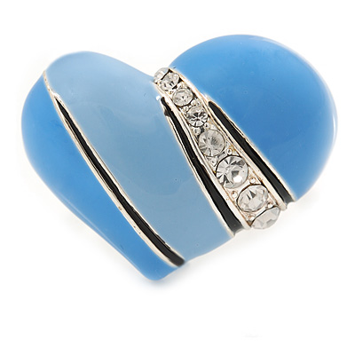 Blue Violet Enamel Crystal Asymmetrical Heart Ring In Silver Tone - Adjustable Size 8/9 - 40mm Across