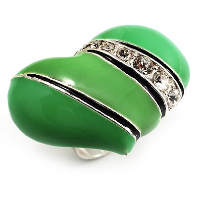 Bright Green Enamel Diamante Asymmetrical Heart Ring (Silver Tone)