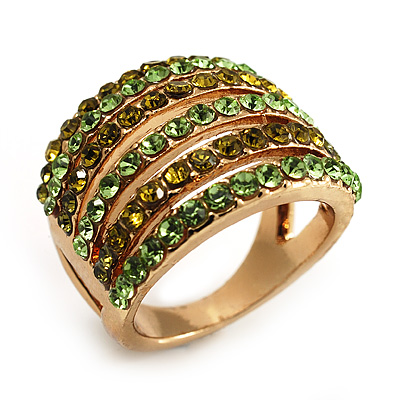 Gold Tone Wide Crystal Band Ring (Green & Olive)