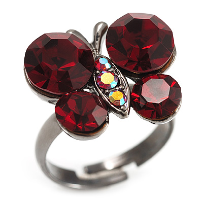 Small Ruby Red Coloured Crystal Butterfly Ring (Black Tone)