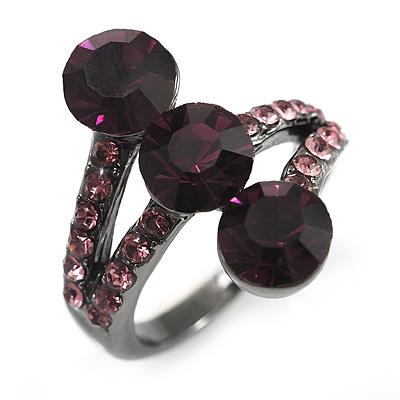 Deep Purple CZ Trinity Ring (Black Tone)