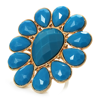 Oversized Turquoise Coloured Floral Acrylic Cocktail Ring (Gold Tone)