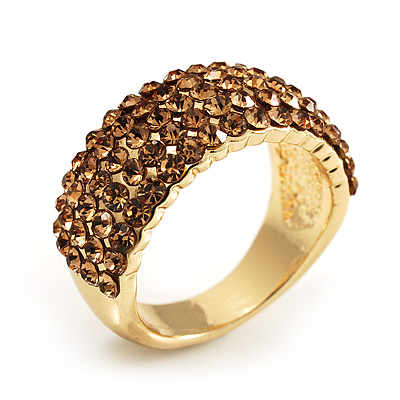 Gold Plated Light Citrine Crystal Band Ring