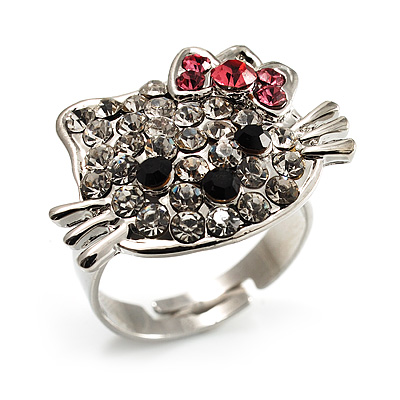 Cute Crystal Kitten Ring (Silver&Clear)