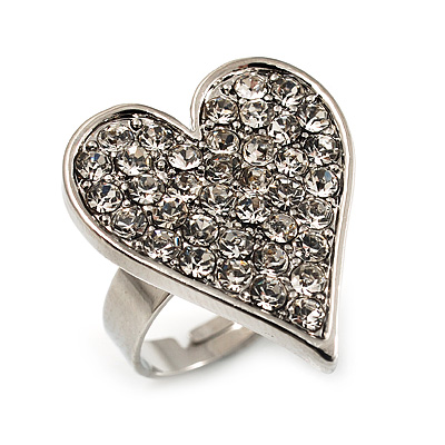 Romantic Crystal Heart Ring (Silver & Clear) - main view