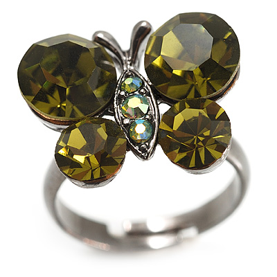 Small Olive Green Crystal Butterfly Ring (Black Tone)