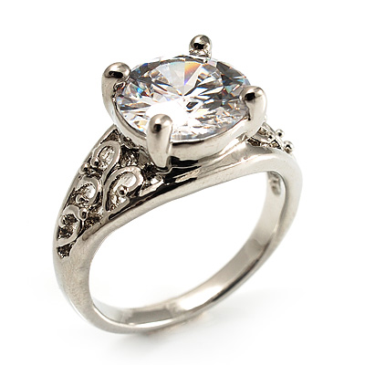 Silver Plated Clear CZ Solitaire Ring - main view