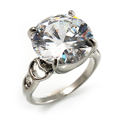 Clear Crystal CZ Rock Solitaire Ring (Silver Tone) - main view