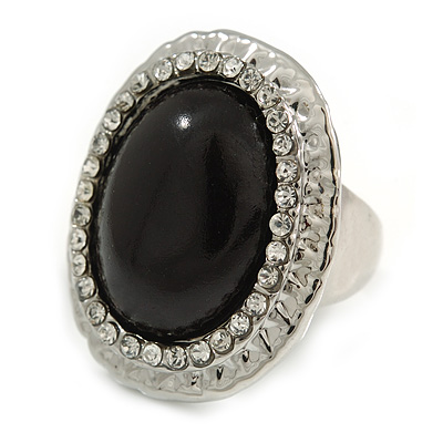 Black Resin Bead Oval Ring (Silver Tone)