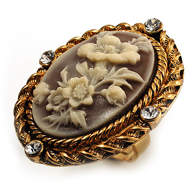 Vintage Floral Crystal Cameo Ring (Burnished Gold) - main view