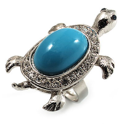Silver Plated Clear Crystal Turtle Ring