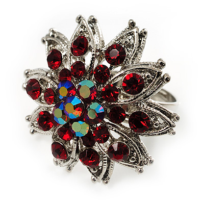 Burgundy Red Diamante Floral Cocktail Ring (Silver Tone)