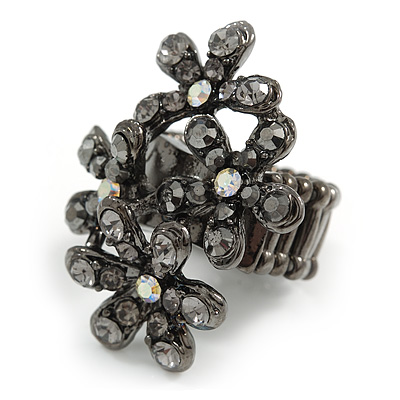 Black Crystal Floral Stretch Ring - main view
