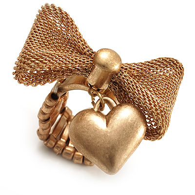 Vintage Mesh Bow & Heart Charm Stretch Ring (Matte Gold Tone) - main view
