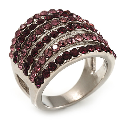 Silver Tone Wide Crystal Band Ring (Purple & Lavender)