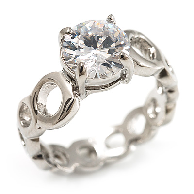 Clear Crystal CZ Solitaire Ring (Silver Tone) - Size 7 - main view