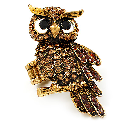 Charming Diamante Antique Gold Owl Stretch Ring