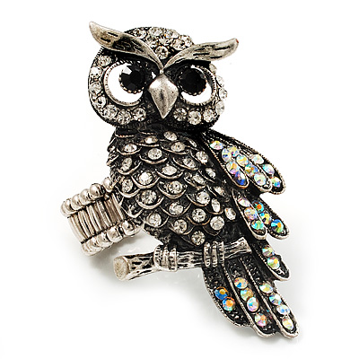 Charming Diamante Antique Silver Owl Stretch Ring