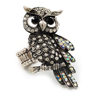 Charming Diamante Antique Silver Owl Stretch Ring