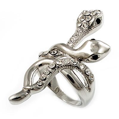 Diamante Rhodium Plated Swirl Snake Ring