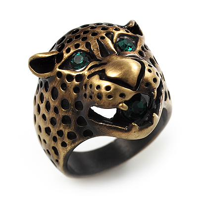 Vintage Bronze Tone 'Tiger' Ring