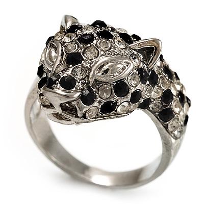 Diamante 'Leopard' Rhodium Plated Ring - main view