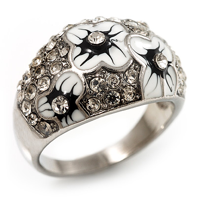 Dome Shaped Crystal Flower Ring (Silver Tone) - main view