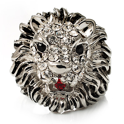 Statement Rhodium Plated Crystal 'Lion' Ring - main view