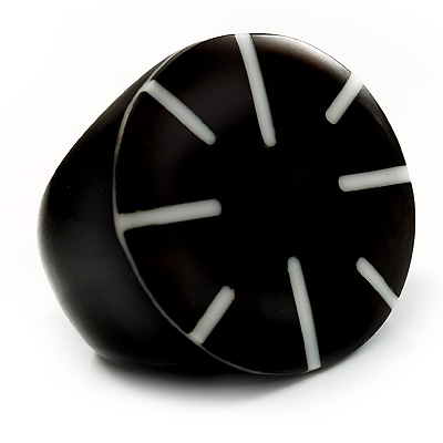 Black Resin Shell Inlay 'Stamp' Ring - main view