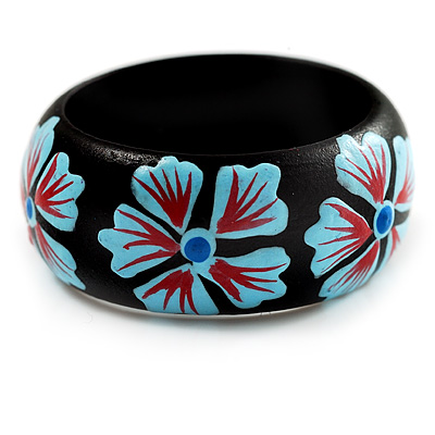 Black Wood Light Blue Floral Band Ring - main view
