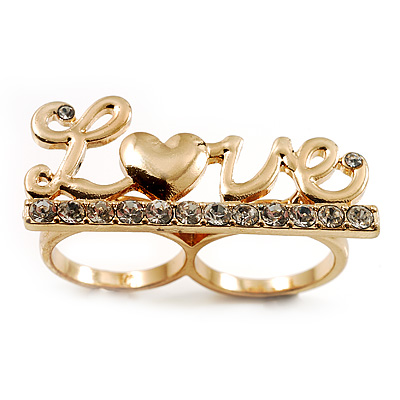 Gold Plated Double Finger Diamante 'Love' Ring - Size 7&8 - main view