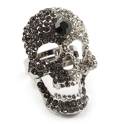 Dazzling Clear/Dimgrey Crystal Skull Cocktail Ring - Adjustable
