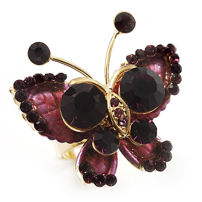3D Crystal Butterfly Ring (Gold&Purple)